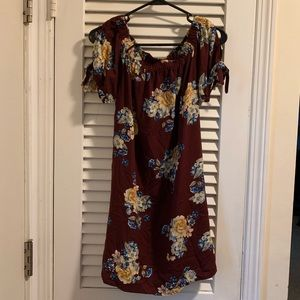 Off the shoulder burgundy flowers mini dress